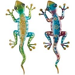 Regal Art & Gift Gecko Decor, Set of 2, Bundle of Rainbow Green and Rainbow Purple Geckos