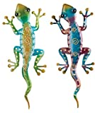 Regal Art & Gift Gecko Decor, Set of 2, Bundle of Rainbow Green and Rainbow Purple Geckos