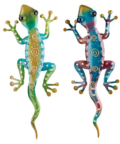 Regal Art & Gift Gecko Decor, Set of 2, Bundle of Rainbow Green and Rainbow Purple (Southwest Metal Art)
