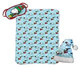 Jay Franco Peanuts Snoopy 3 Piece Holiday Set - Kids Christmas Bedding, Super Soft Sherpa Throw Blanket & Eye Mask with Bonus Santa Hat (Official Peanuts Product)
