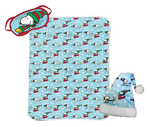 - Jay Franco Peanuts Snoopy 3 Piece Holiday Set - Kids Christmas Bedding, Super Soft Sherpa Throw Blanket & Eye Mask with Bonus Santa Hat (Official Peanuts Product)