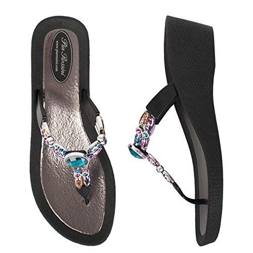 Rossini pia gemini noir avec talon faible sandales de piscine