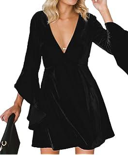 Inorin Womens Velvet Skater Dress Deep V Neck Bell Sleeve Sexy Swing Dress  Party Gown ca0b14aa70b2