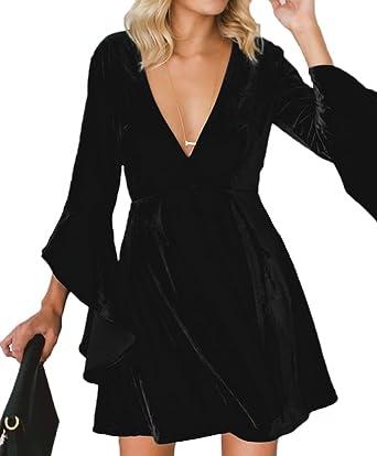 566d02d2da Inorin Womens Velvet Skater Dress Deep V Neck Bell Sleeve Sexy Swing Dress  Party Gown