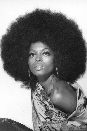 Hairstyles In 1970 (Diana Ross Afro Hairstyle 1970's Shoot Striking Image 11x17 Mini)