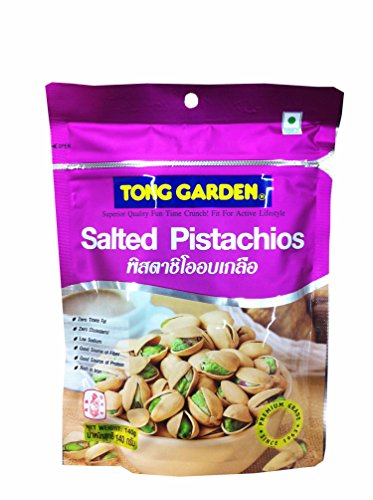 2 Packs of Salted Pistachios By Tong Garden. Zero Trans Fat, Zero Cholesterol, Low Sodium, Good Source of Fiber, Good Source of Protein, Rich in Iron. (140 G/ Pack)