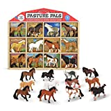 Melissa & Doug Pasture Pals Play Set (12 Collectible Horses With Wooden Barn-Shaped Crate)