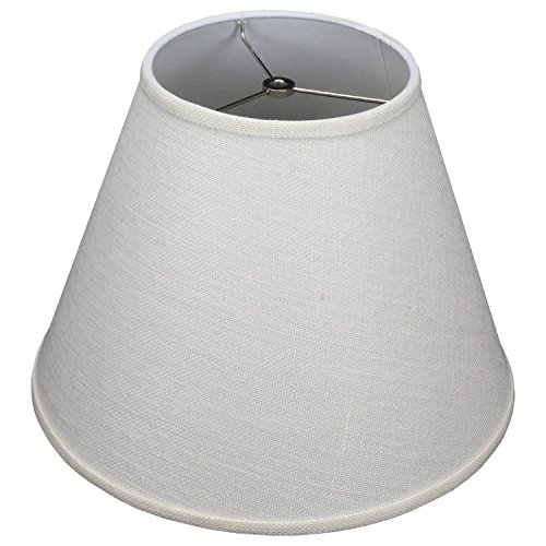"FenchelShades.com Lampshade 8"" Top Diameter x 16"" Bottom Diameter x 12"" Slant Height with Washer (Spider) Attachment for Lamps with a Harp (Burlap Off White)"
