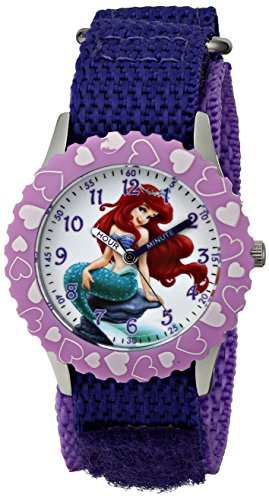 Disney Kids' Ariel Stainless Steel, W001580, Purple Nylon Strap, Analog Display, Purple Watch