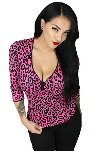 Sexy-Leopard-34-Sleeve-Pinup-Rockabilly-Top-Hot-Pink