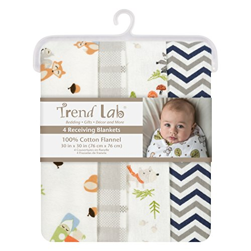 Trend Lab Woodsy Gnomes Flannel Blankets, 4 Piece