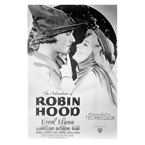 Errol Flynn by 10 inch PHOTOGRAPH The Adventures of Robin Hood Captain Blood The Sea Hawk B&W Pic from Chest Up w/ Olivia de Havilland Movie Poster -