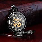 AMPM24 Steampunk Black Copper Case Skeleton Mechanical Pocket Watch Fob 8
