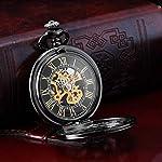 AMPM24 Steampunk Black Copper Case Skeleton Mechanical Pocket Watch Fob WPK167 8