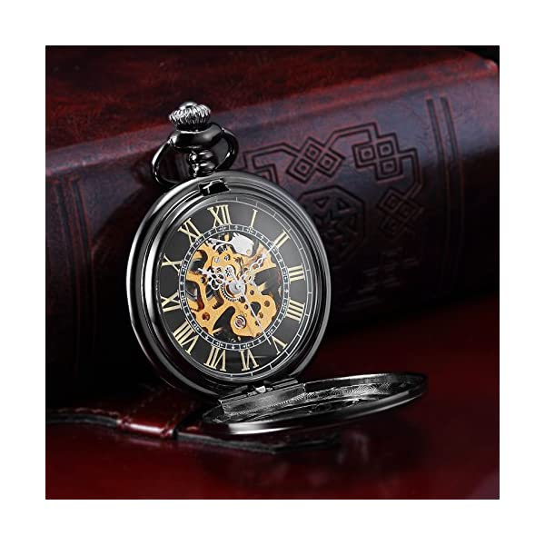 AMPM24 Steampunk Black Copper Case Skeleton Mechanical Pocket Watch Fob WPK167 5