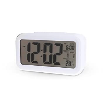 Saysha Lcd Screen Digital Alarm Clock With Date & Temperature Display & Backlight - White
