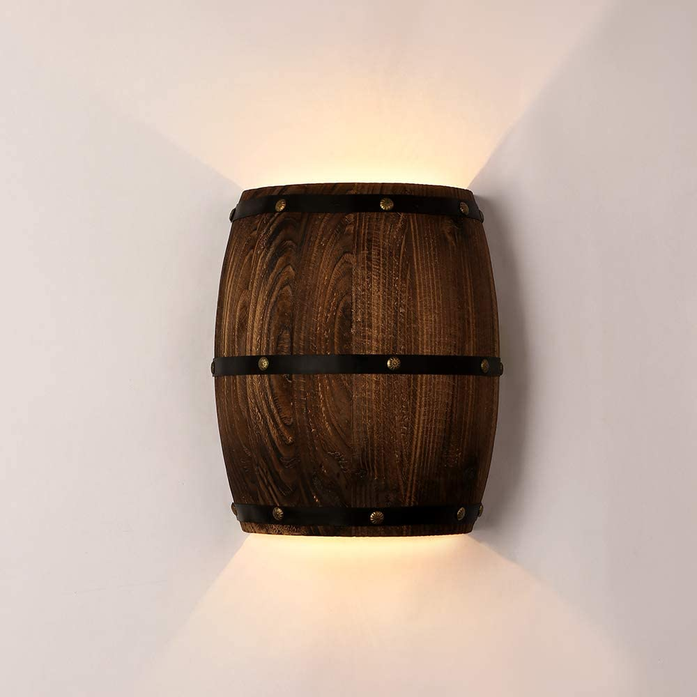 Newrays Antique Wood Wine Barrel Wall Sconce Lighting Fixture Up and Down Indoor Wall Lamps for Bar Area Steampunk Theme