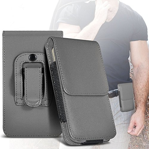 I-Sonite (Grey) Premium Vertical Faux Leather Belt Holster Pouch Cover Case With Magnetic Closure For Samsung Galaxy J7 Max