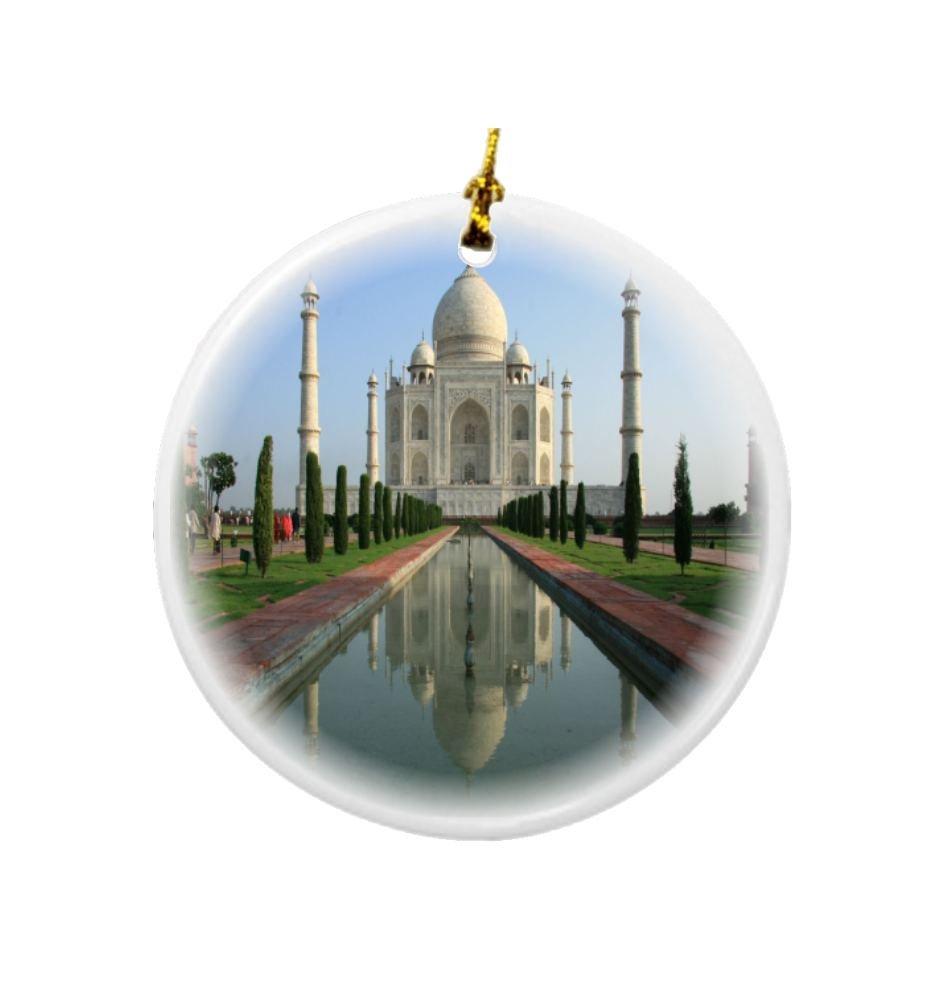 Rikki Knight Taj Mahal Agra India Design Round Porcelain Two-Sided Christmas Ornaments