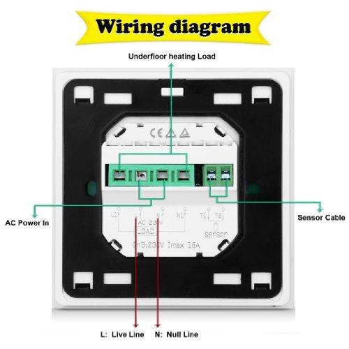 FLOUREON Termostato digital de ambiente ajustable para calefacción eléctrica, Termostato inalámbrico programable con pantalla LCD para calentamiento ...