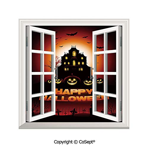 SCOXIXI Open Window Wall Mural,Happy Halloween Haunted House Flying Bats Scary Looking Pumpkins Cemetery Decorative,for Living Room(26.65x20 inch) -