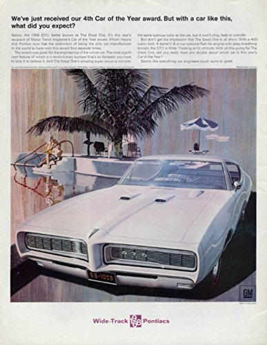 Just received our 4th Car of the Year Award - Pontiac GTO ad 1968 P