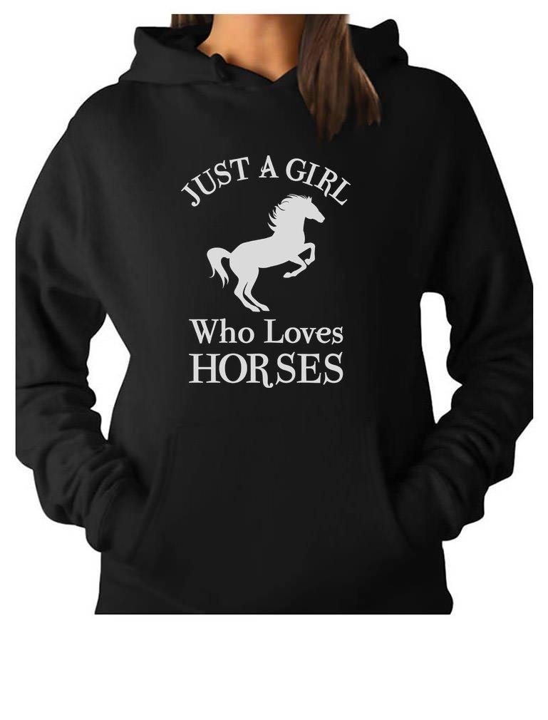 Tstars - A Girl Who Loves Horses Horse Lover Gift Women Hoodie Small Black