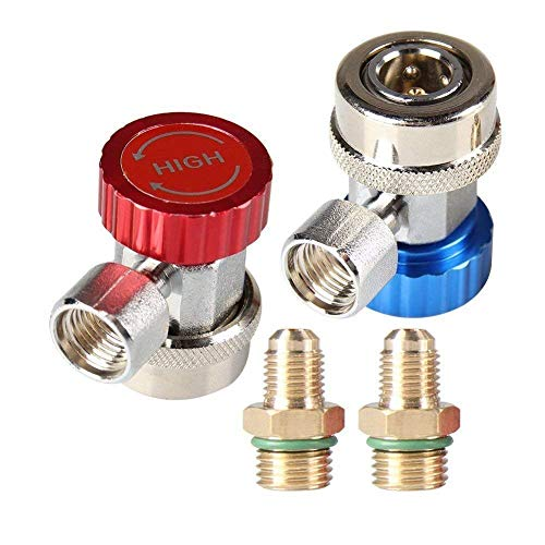Bang4buck 7/16-20UNF Thread R134A Refrigerant Quick Coupler Air Fittings High Low AC Conversion Kit