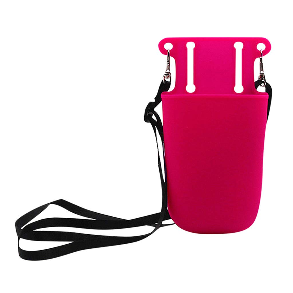 Sikye Silicone Pocket Storage Bag Idea for Beauty Hairdressing Gardening Tools Nylon Strap (Hot Pink)