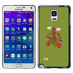 FECELL CITY // Duro Aluminio Pegatina PC Caso decorativo Funda Carcasa de Protección para Samsung Galaxy Note 4 SM-N910 // Minimalist Strawberry Green Cartoon