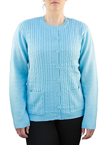 Knit Minded Womens Plus Size Long Sleeve Two Pocket Cable Knit Cardigan Sweater Light Blue 3X