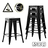 FDW Counter Height Bar Stools Set of 4 Kitchen Counter Stool Indoor/Outdoor Stool Patio Furniture Metal Bar Stools 24 Inches Modern Stackable Barstools Dining Chair,Black