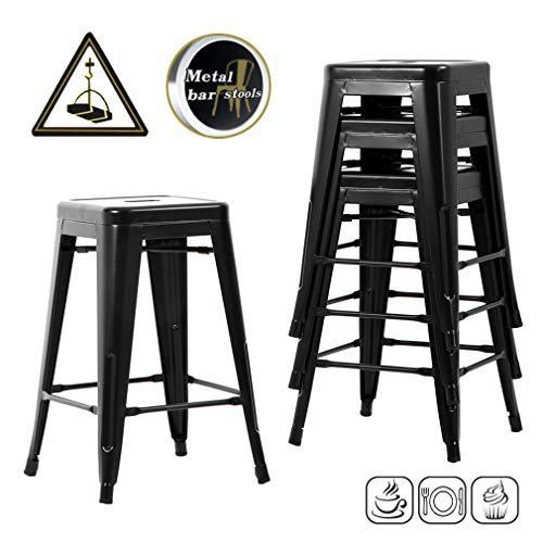 Counter Height Bar Stools Set of 4 Kitchen Counter Stool Indoor/Outdoor Stool Metal Bar Stools 24 Inches Moden Stackable Barstools Dining - Stools Bar Dining Chairs