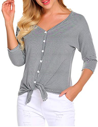 Poetsky Womens Tie Knot Front 3/4 Sleeve Button Down Striped Shirt Loose Blouse Tops (L, Light ()