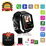 Bluetooth Smart Watch Touchscreen with Camera, Unlocked Watch Cell Phone with Sim Card Slot, Smart Wrist Watch, Waterproof Smartwatch Phone for Android Samsung IOS Iphone 7 Plus 6S (Black)