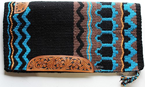 PRORIDER 34x36 Horse Wool Western Show Trail Saddle Blanket Rodeo Pad Turquoise 36282C ()