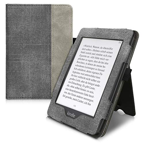kwmobile Case for Amazon Kindle Paperwhite (10. Gen - 2018) - PU Leather Synthetic Suede Cover with Magnetic Closure, Kickstand, Hand Strap, Card Slot - Black/Dark Grey