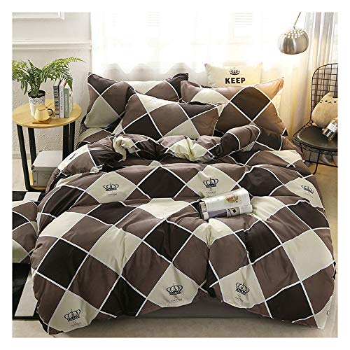 KFZ Cool Panda Bat Moon Printed Bed Set Twin Full Queen King Sheets Set, Duvet Cover (Without Comforter), Flat Sheet and 2 Pillow Cases Bedding Set for Kids (Checker Crown, Grey, Twin 60