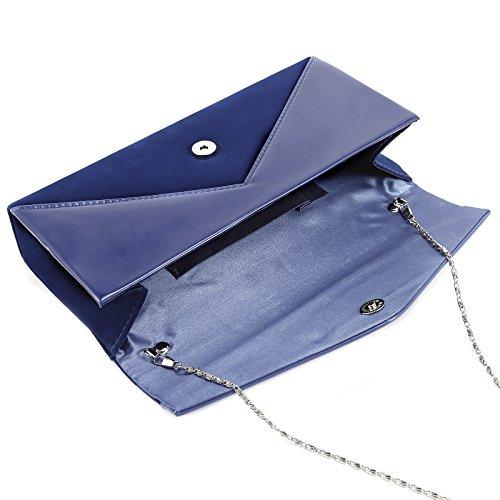Anladia - Bolso de Mano Cartera de Mano de Mujer Faux Suede Terciopelo Tipo Clutch con Cadena Larga de 116cm Cierre de Imán para Fiesta Cena Boda Salidas Azul