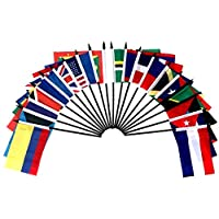 """CARIBBEAN ISLANDS WORLD FLAG SET--20 Polyester 4""""x6"""" Flags, One Flag for Each Country in the Caribbean Islands, 4x6 Miniature Desk & Table Flags, Small Mini Stick Flags"""