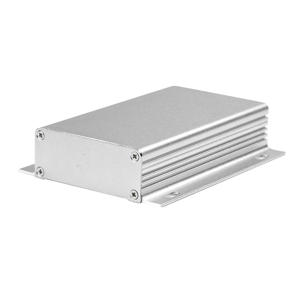 Eightwood Aluminum Electronic Project Box PCB Enclosure DIY - 4.33'' x 2.44'' x 0.98'' (LWH), Smooth Top Striped with Fixing Points Flange Enclosure