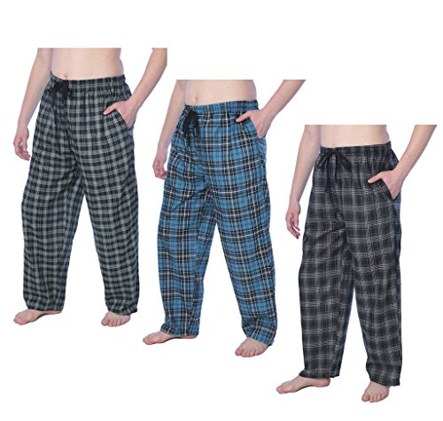 Beverly Rock Mens 100% Cotton Plaid Lounge PantsAvailable in Plus Size Y17_JMP1 3-Pack 1X by Beverly Rock