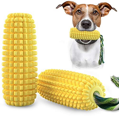 USWT Corn-Shaped Squeak Toys for Dog Puppy Chew Toy Molar Toothbrush