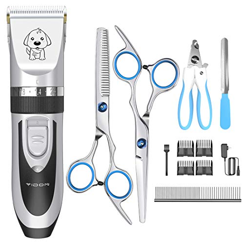 Dog Clippers Cat Shaver, YiDon Cordless Hair trimmer Rechargeable adjustable dog groooming kit-nail clippeers for thick coast Animals,Stainless Steel Comb and Scissors, Low Noise Low Vibration (black)