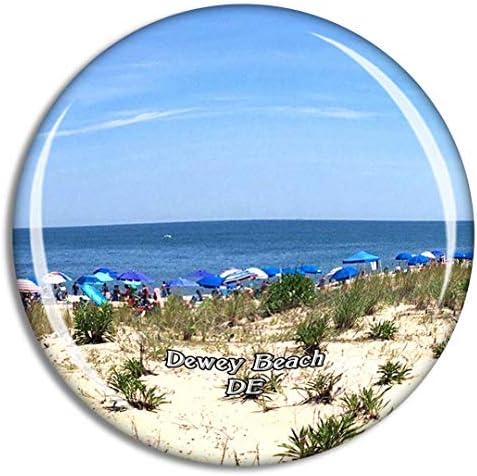 デューイビーチデラウェア米国冷蔵庫マグネット3Dクリスタルガラス観光都市旅行お土産コレクションギフト強い冷蔵庫ステッカー