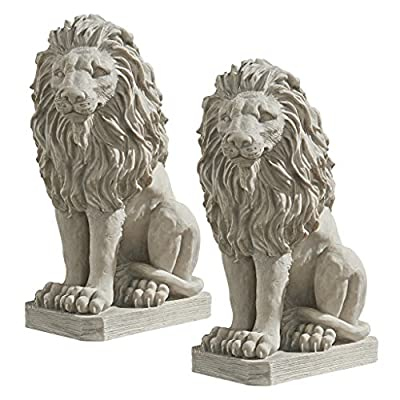 Design Toscano Mansfield Manor Lion Sentinel Animal Statue, 21 Inch, Set of Two, Polyresin, Antique Stone