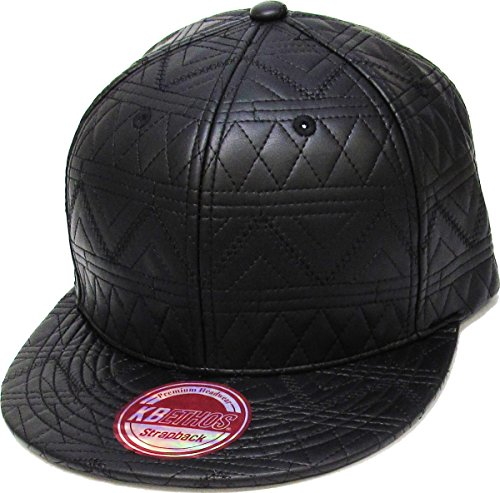 - KNW-1503 BLK Quilted PU Leather Strapback