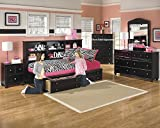 Jaidyn Youth Wood Bookcase Storage Bed Room set in Rich Black Finish, Twin Bed, Dresser, Mirror, 2 Nightstands