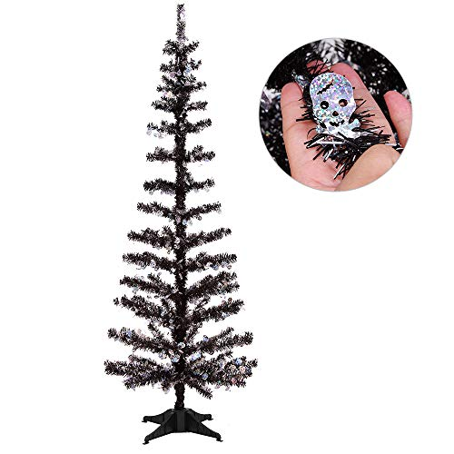 Joy-Leo 5 Foot Shiny Skull Halloween Christmas Tree with Reflective Sequins, Collapsible & Reusable Black Tinsel Christmas Tree for Halloween Decoration with Plastic Stand