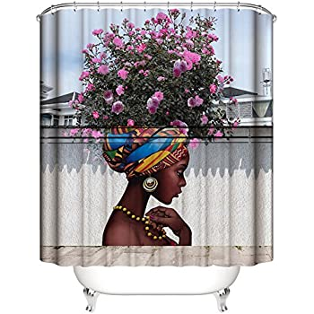 Amazon Com African American Shower Cutain Woman Abstract